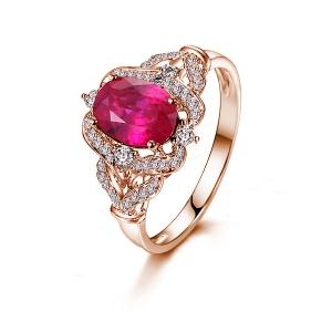 0.660克拉红宝石 18分钻石戒指