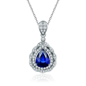 0.925克拉蓝宝石 28分钻石吊坠