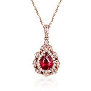 1.000克拉红宝石 31分钻石吊坠