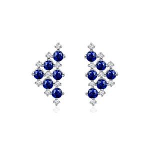 1.000克拉蓝宝石 14分钻石耳钉
