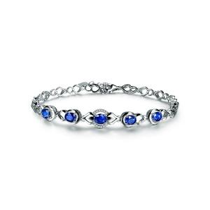 2.21克拉蓝宝石 5分钻石手链