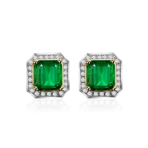 2.033克拉祖母绿 22分钻石耳钉