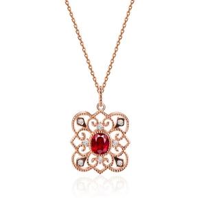 0.535克拉红宝石 10分钻石吊坠