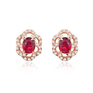 0.840克拉红宝石 20分钻石耳钉