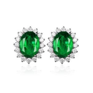1.310克拉祖母绿 30分钻石耳钉