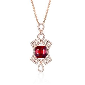 0.500克拉红宝石 32分钻石吊坠