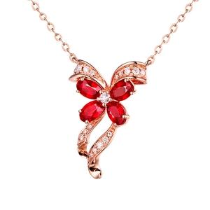 1.020克拉红宝石 13分钻石吊坠