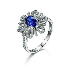 1.03克拉蓝宝石 20分钻石戒指