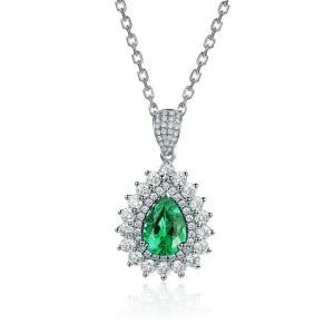 1.23克拉祖母绿 72分钻石吊坠