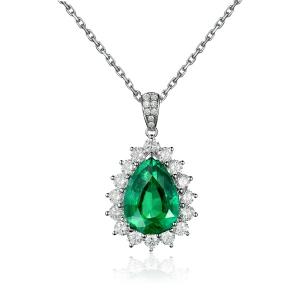 1.07克拉祖母绿 32分钻石吊坠