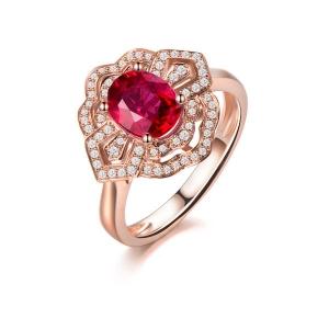 1克拉红宝石钻戒指厂价4215元