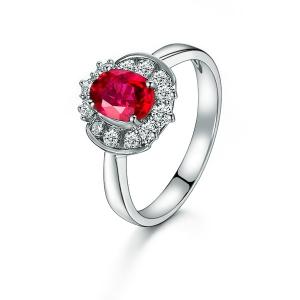 1.070克拉红宝石 43分钻石戒指