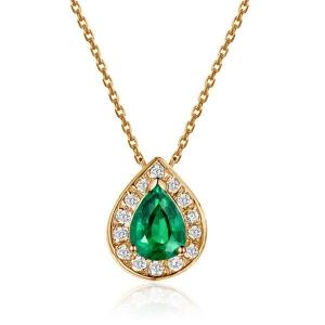 0.255克拉祖母绿 7分钻石吊坠