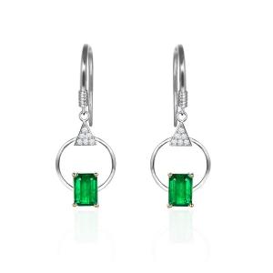 1.085克拉祖母绿 4分钻石耳钉