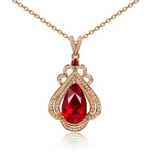 0.590克拉红宝石 28分钻石吊坠