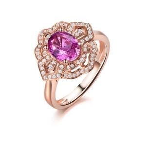 1.950克拉蓝宝石 27分钻石戒指