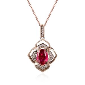 0.700克拉红宝石 10分钻石吊坠