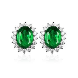 1.300克拉祖母绿 33分钻石耳钉