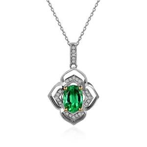 1.600克拉祖母绿 17分钻石吊坠