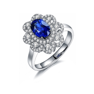 1.480克拉蓝宝石 52分钻石戒指