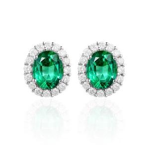 1.34克拉祖母绿钻石耳钉