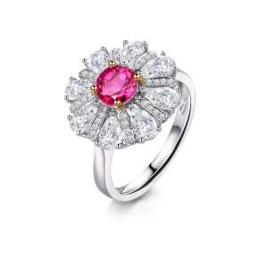 0.680克拉蓝宝石 2.05克拉白蓝宝 16分钻石戒指