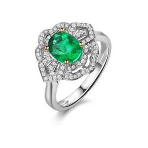 1.360克拉祖母绿 26分钻石戒指