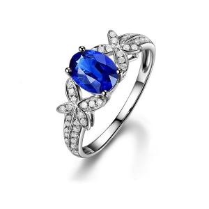 0.590克拉无烧蓝宝石 3分钻石戒指