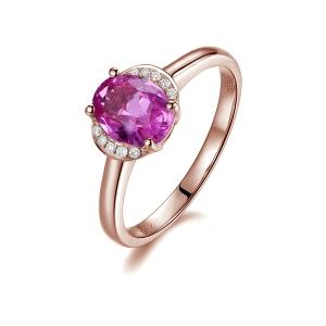 0.830克拉粉蓝宝 2分钻石戒指