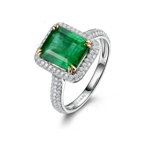 1.890克拉祖母绿 55分钻石戒指