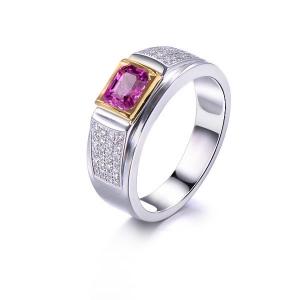 0.860克拉蓝宝石 25分钻石戒指