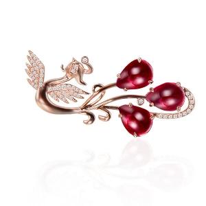 3.78克拉红宝钻石胸针厂价5078元