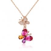 """红宝石钻石吊坠""""比翼双飞"""""""