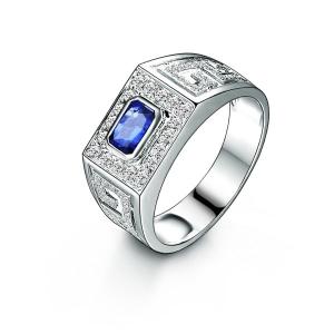 0.8克拉蓝宝石 38分钻石戒指