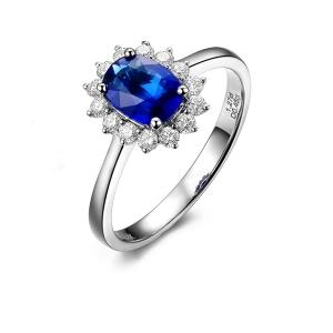 3.54克拉蓝宝石 40分钻石戒指