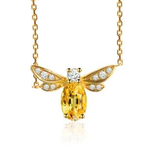 黄色蓝宝钻石吊坠