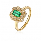 0.648克拉祖母绿 18分钻石戒指