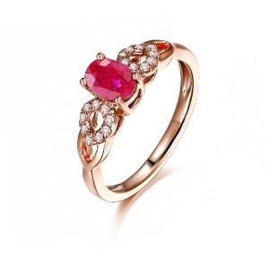 鸽血红宝石钻石戒指