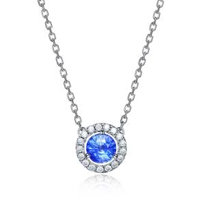 0.320克拉蓝宝石钻石吊坠