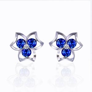 """蓝宝石钻石耳钉""""蓝色经典"""""""