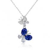 蓝宝石钻石吊坠(比翼双飞)