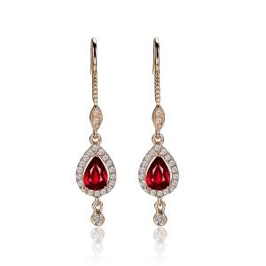 0.52克拉红宝石 18分钻石耳钉