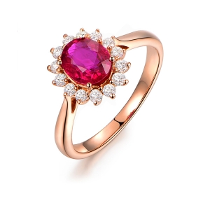 0.515克拉红宝石 24分钻石戒指