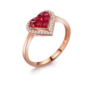 """红宝石钻石戒指""""心心相印"""""""