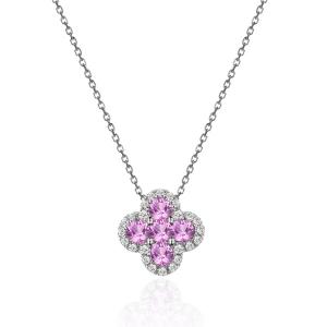 粉色蓝宝石钻石吊坠