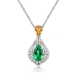 1.250克拉祖母绿钻石吊坠