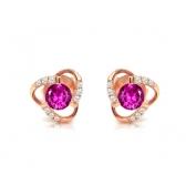 粉色蓝宝石钻石耳钉