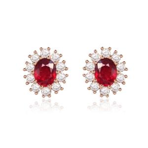 红宝石钻石耳钉