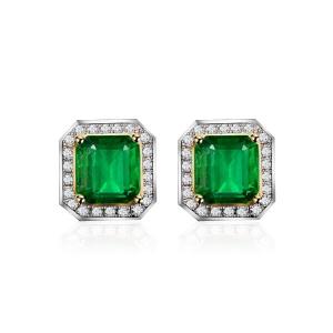 祖母绿钻石耳钉