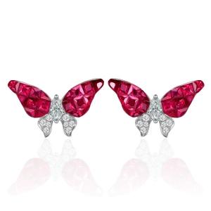 1.45克拉红宝石钻石耳钉